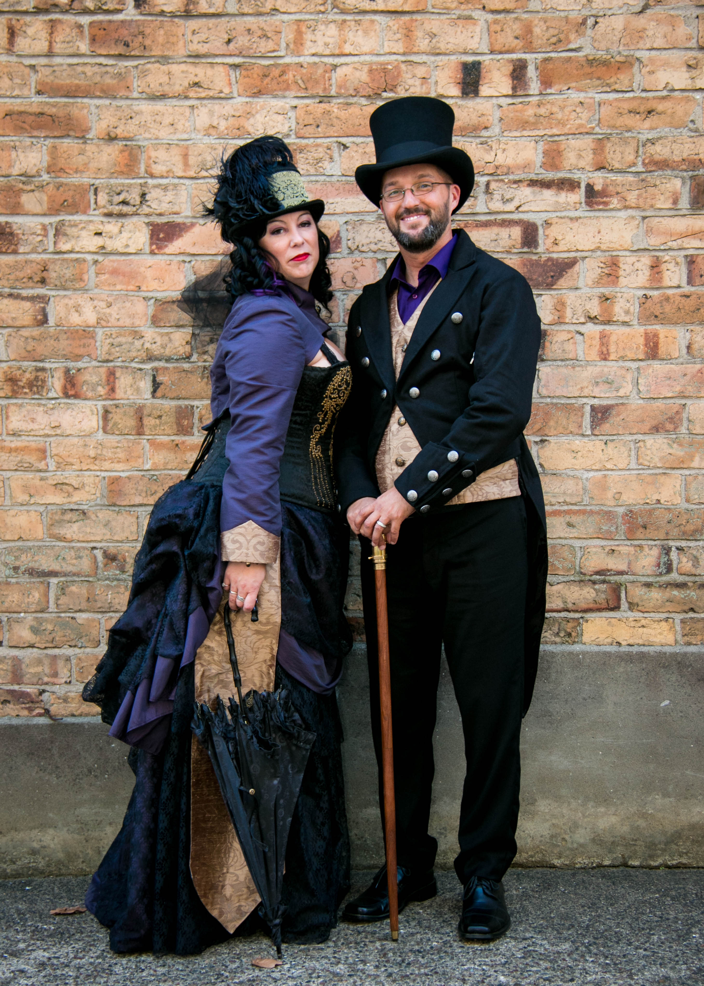gold and purple steampunk bride and groom