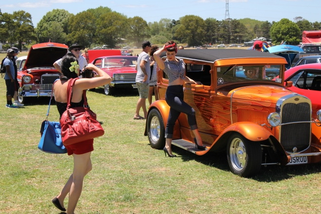pinup, Kumeu car show, velvet decollete, zandy J photography  2015, classic car, behind the scenes, pin up, rockabilly, hotrod, vintage, retro, classic car