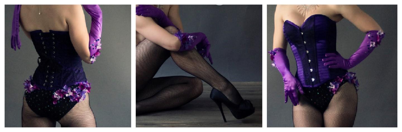 purple showgirl burlesque costume